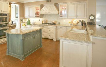 Amazing cream and dark wood kitchens ideas 68