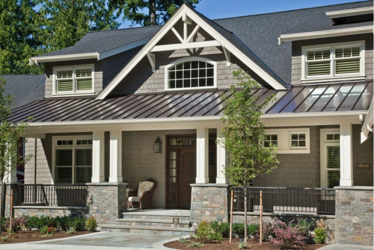 Exterior house colors with brown roof 36