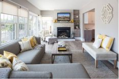 Furniture placement ideas with fireplace 09