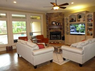 Furniture placement ideas with fireplace 18
