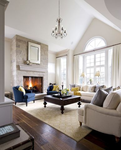 Furniture placement ideas with fireplace 19