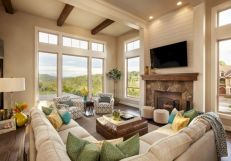 Furniture placement ideas with fireplace 42