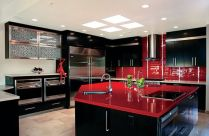 Inspiring black quartz kitchen countertops ideas 05