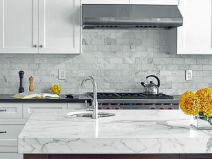 Inspiring black quartz kitchen countertops ideas 14