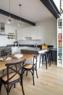 Inspiring black quartz kitchen countertops ideas 32