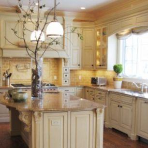Modern cream painted kitchen cabinets ideas 09