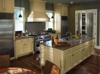 Modern cream painted kitchen cabinets ideas 14