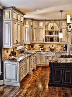 Modern cream painted kitchen cabinets ideas 40
