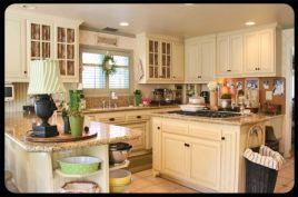 Modern cream painted kitchen cabinets ideas 43