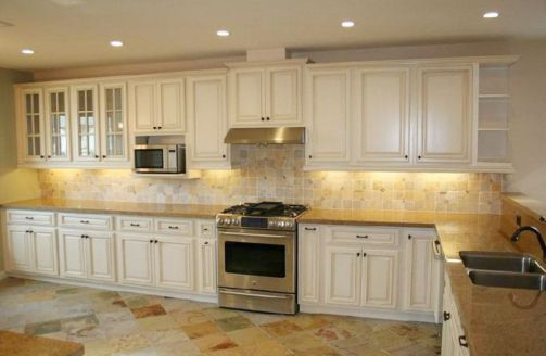 Modern cream painted kitchen cabinets ideas 44