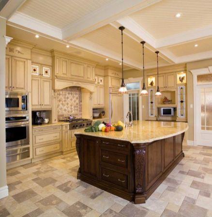 Modern cream painted kitchen cabinets ideas 50