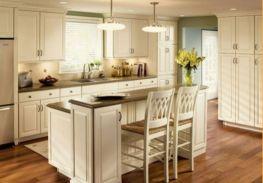 Modern cream painted kitchen cabinets ideas 56