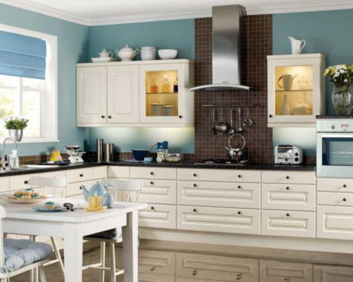 Modern cream painted kitchen cabinets ideas 62