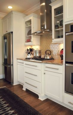 Modern cream painted kitchen cabinets ideas 64