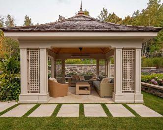 Stunning garden pergola ideas with roof 43