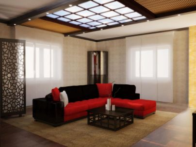 Stunning red brown and black living room design ideas 02