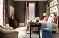 Stunning red brown and black living room design ideas 04