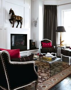 Stunning red brown and black living room design ideas 06