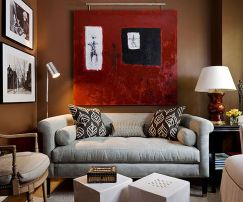 Stunning red brown and black living room design ideas 41