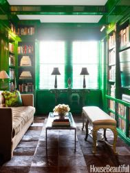 Stylish dark green walls in living room design ideas 05