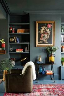 Stylish dark green walls in living room design ideas 16
