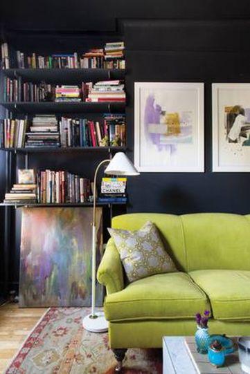 Stylish dark green walls in living room design ideas 22