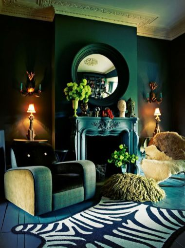 69 Stylish Dark Green Walls In Living Room Design Ideas Round Decor