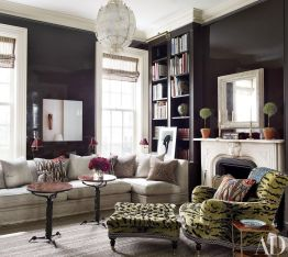 Stylish dark green walls in living room design ideas 27