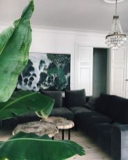 Stylish dark green walls in living room design ideas 54
