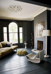 Stylish dark green walls in living room design ideas 65