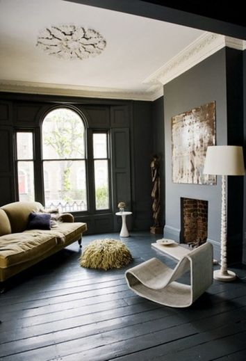 Stylish dark green walls in living room design ideas 65