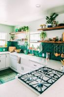 Stylish dark green walls in living room design ideas 66