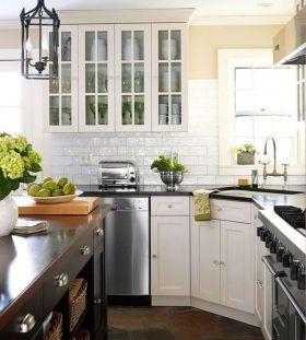 Stylish kitchen designs ideas with corner sinks 20