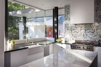 Stylish kitchen designs ideas with corner sinks 53