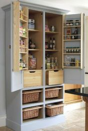Amazing stand alone kitchen pantry design ideas (19)