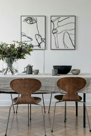 Mid century scandinavian dining room design ideas (56)