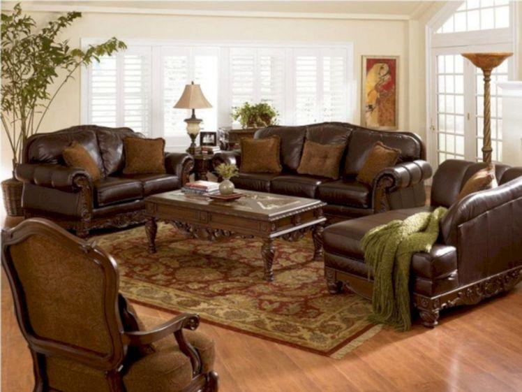 Modern leather living room furniture ideas (15)