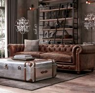 Modern leather living room furniture ideas (23)
