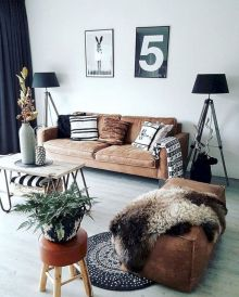 Modern leather living room furniture ideas (5)