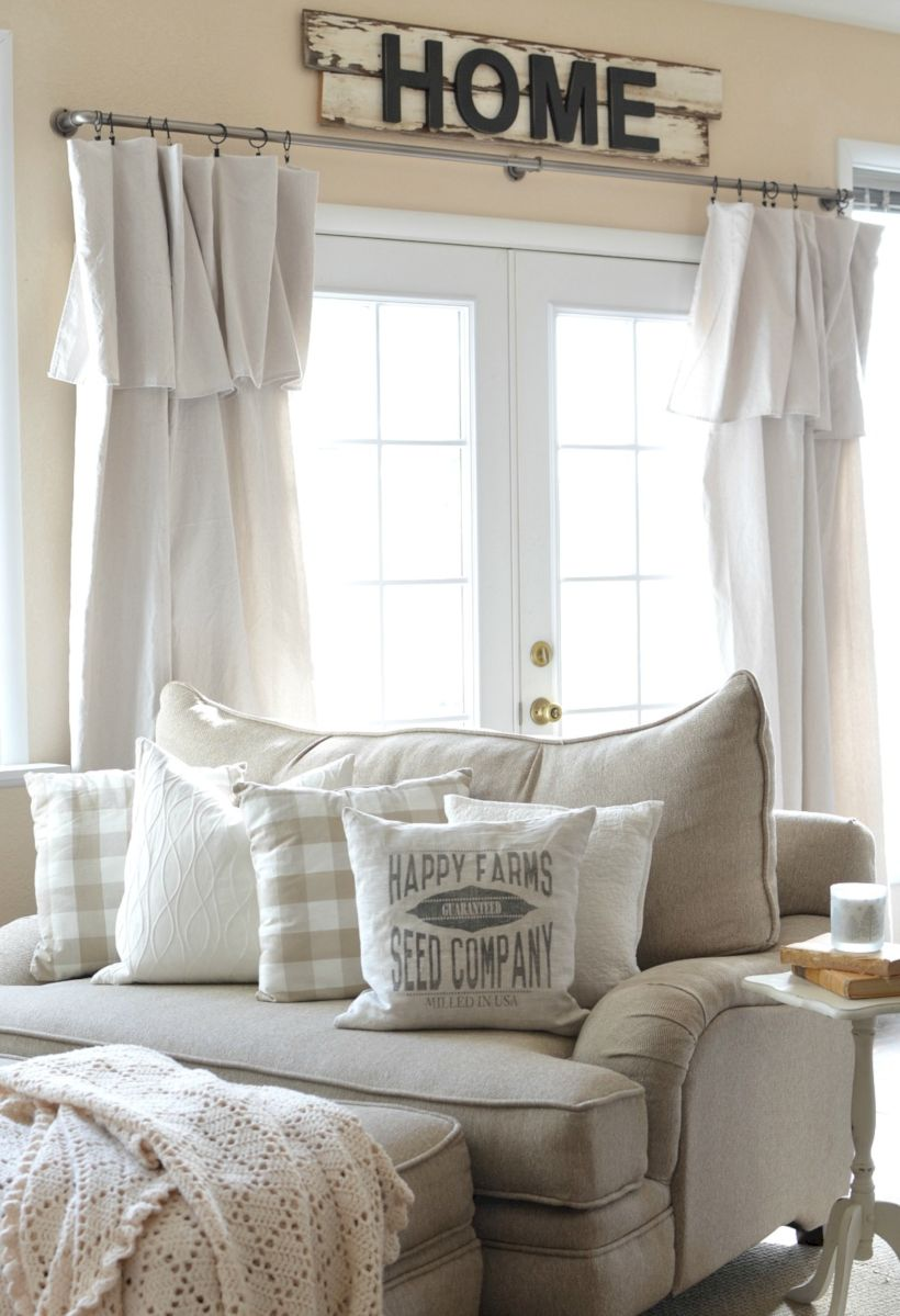 Rustic living room curtains design ideas (28) - ROUNDECOR on Farmhouse Living Room Curtain Ideas  id=48819