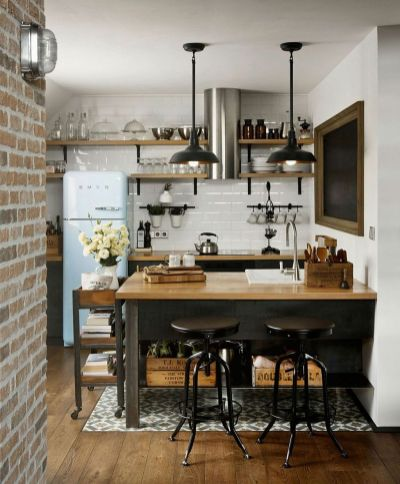 Small modern industrial apartment decoration ideas 26