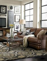 Stylish dark wood floor ideas for your living room (5)