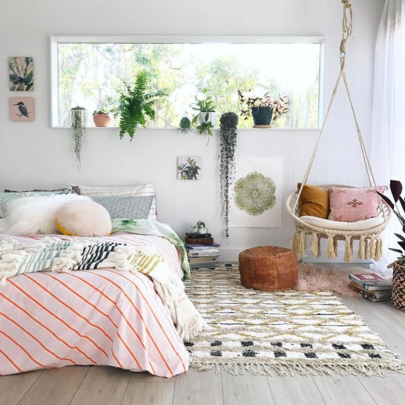 55 Amazing Bohemian Bedroom Decor Ideas - ROUNDECOR on Boho Bedroom Decor  id=58381