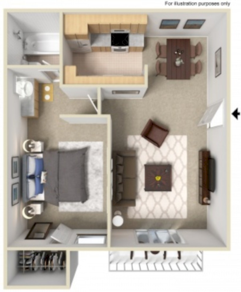 Cool One Bedroom Apartment Plans Ideas 12