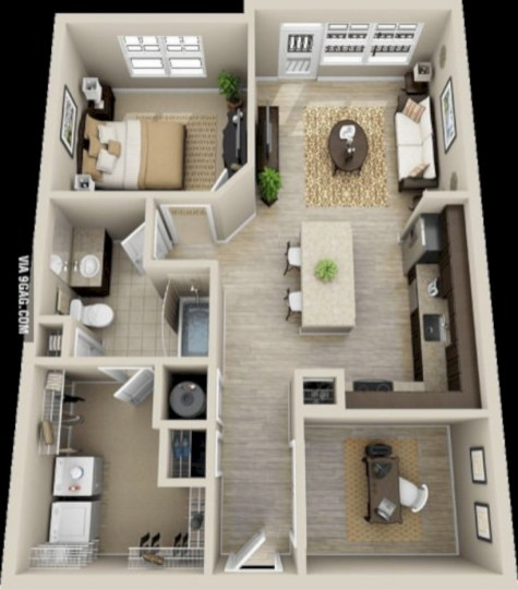 Cool one bedroom apartment plans ideas 39
