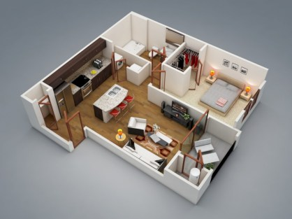Cool one bedroom apartment plans ideas 46