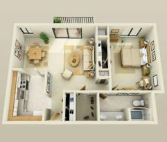 Cool one bedroom apartment plans ideas 55