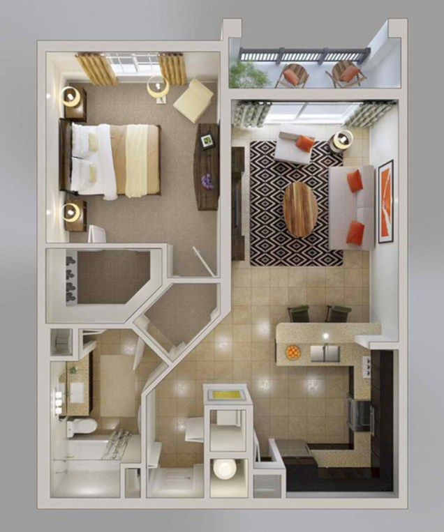 Cool one bedroom apartment plans ideas 56