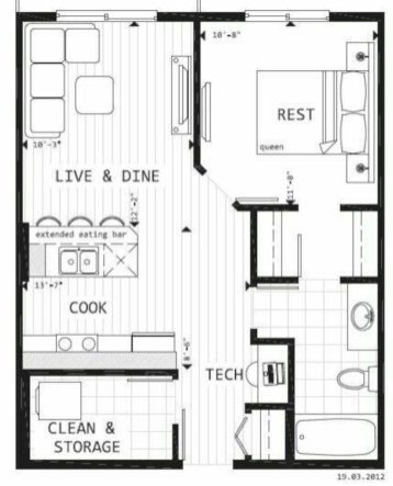Creative two bedroom apartment plans ideas 14. 52 Creative Two Bedroom Apartment Plans Ideas   Round Decor