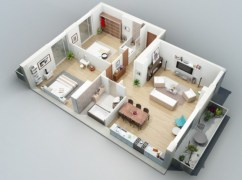 Creative two bedroom apartment plans ideas 18